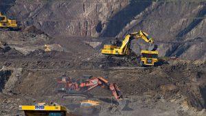 Excavators at a mining area