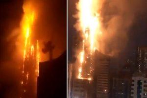 Sharjah fire: Huge blaze engulfs 48-storey residential skyscraper in Gulf emirate