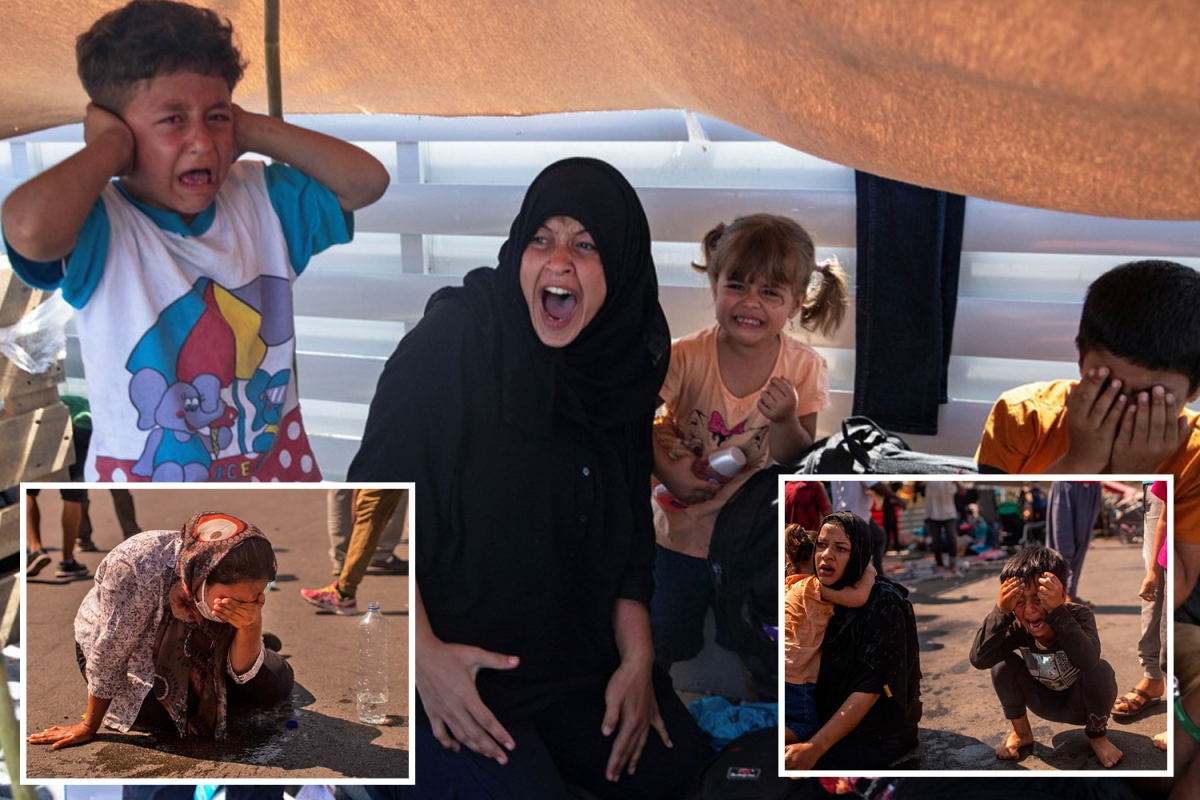 Heartbreaking images present screaming mums and younger kids tear-gassed by Greek cops after blaze destroys migrant camp
