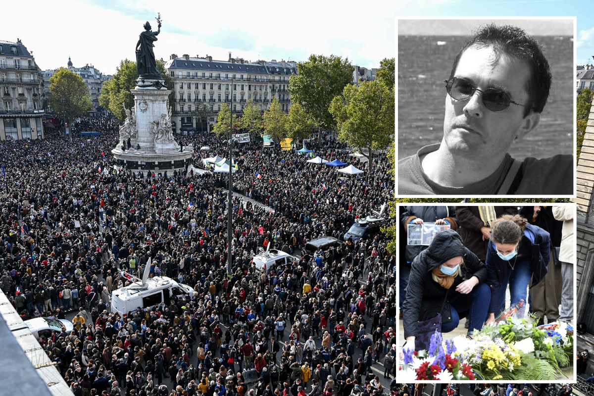 Paris terrorist filmed trainer beheading and shared with ISIS followers as hundreds honour sufferer at free speech demo