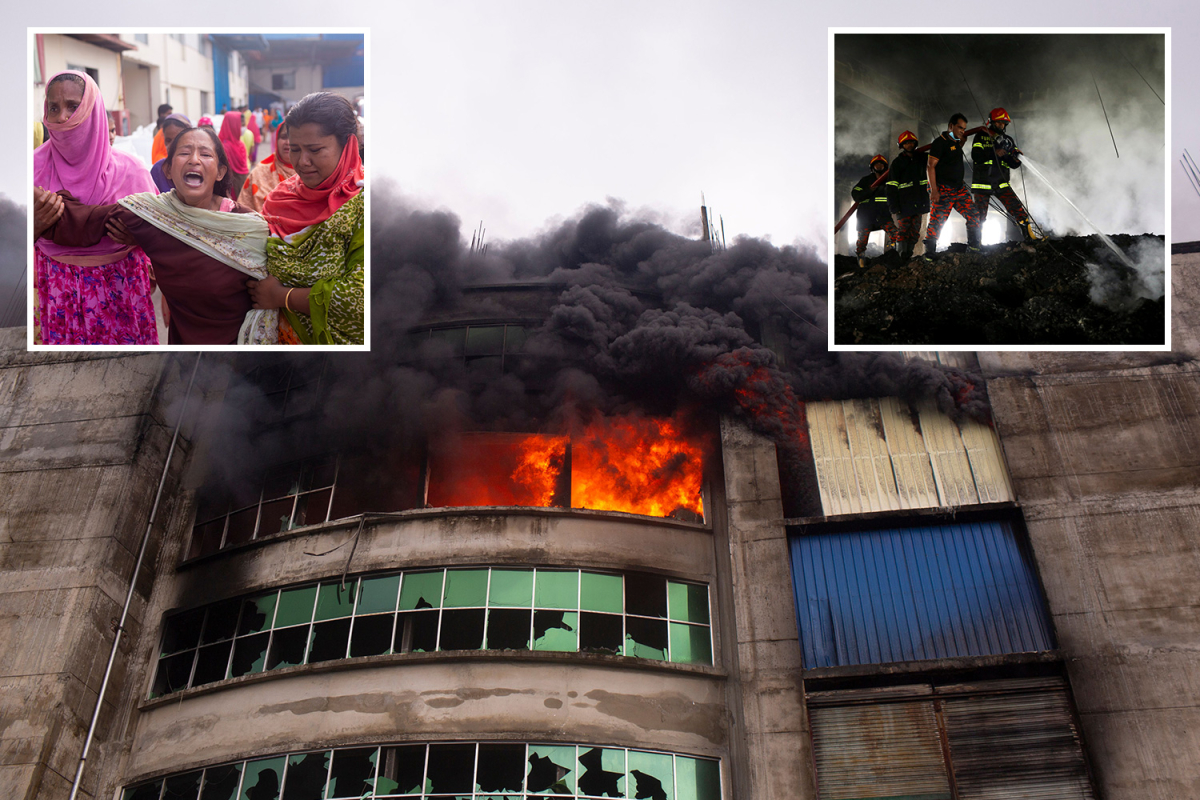 Dozens of kids killed in Bangladesh manufacturing facility fireplace after essential gate locked forcing staff to leap from roof