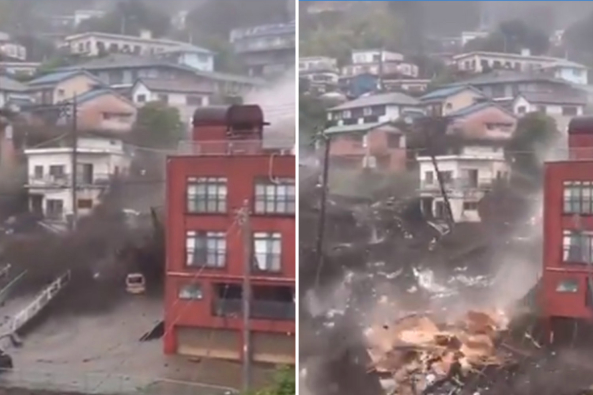 Japan landslide: Horror mudslide buries homes, swamps vehicles and leaves 20 individuals lacking after heavy rain