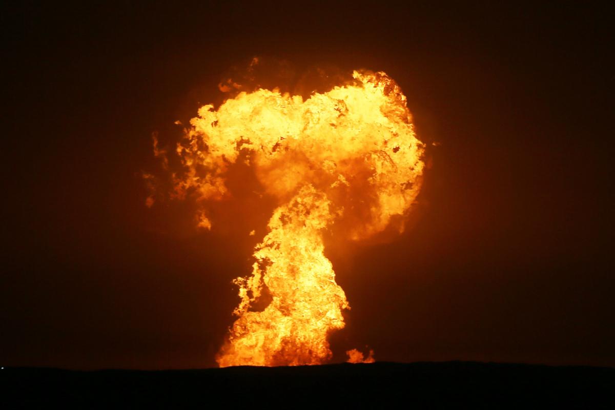 Thriller explosion in Caspian Sea sends towering inferno capturing big flames into sky