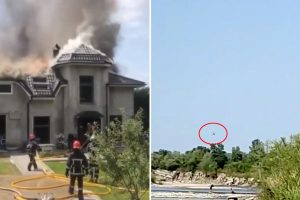 Shocking moment three Americans die as plane crashes into house after 'stunt goes horrifically wrong'