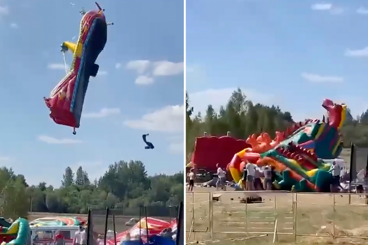 Terrifying second kids are hurled off bouncy castles as they're swept away by sturdy winds flying 30ft into the air