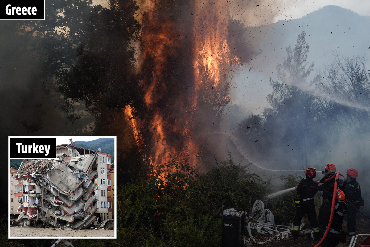 Emergency companies proceed to battle fires and floods in Greece and Turkey