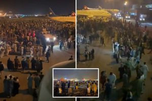 Stampede at Kabul Airport leaves 'five dead' as thousands storm planes for last flights out of Afghanistan