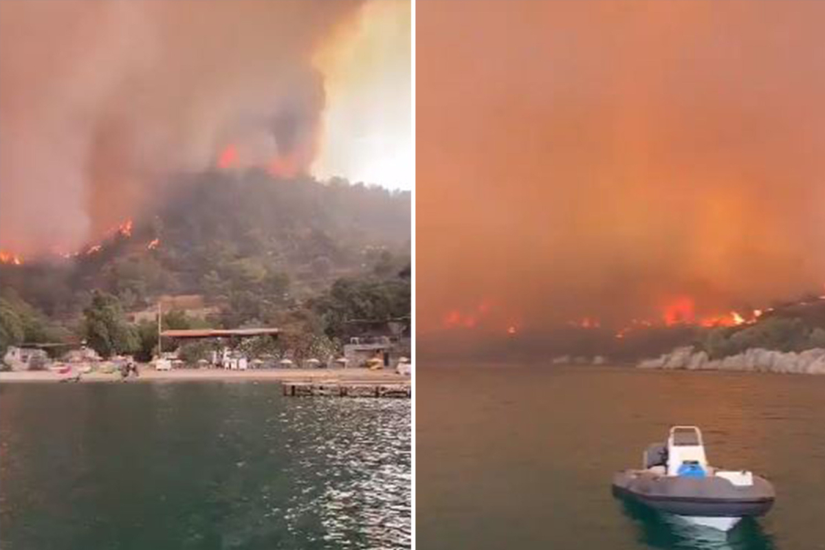 Terrified vacationers airlifted & rescued by boats from Brit resorts close to Marmaris as wildfires ravage Turkey killing six
