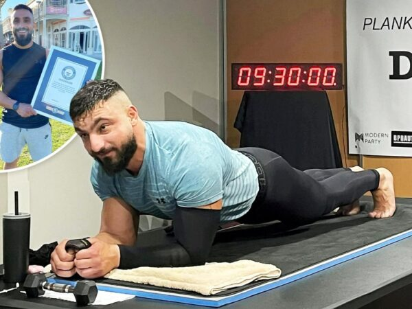 Health fanatic battles painful situation to interrupt world file by holding plank pose for 9½ hours