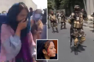 Taliban soldiers armed with assault rifles 'tear gas and beat bloody' women's rights protesters in Kabul