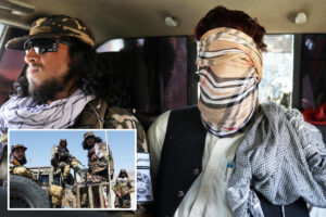Taliban special forces fighters arrest and blindfold ISIS suspects